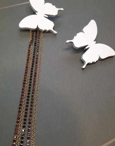 Серьги Бабочки белые
