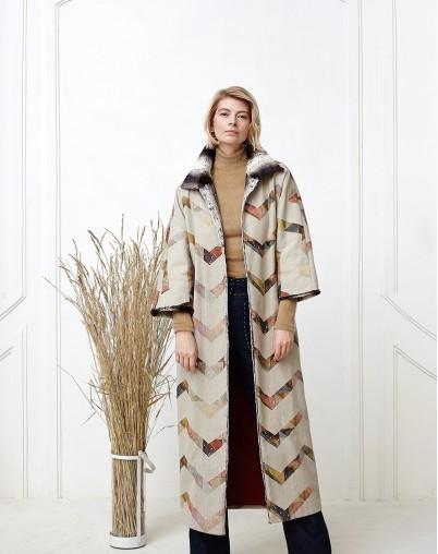 Пальто лён с мехом