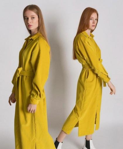 Платье-рубашка яркого желтого цвета