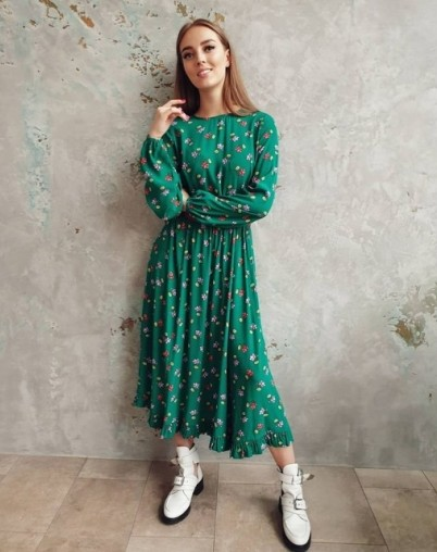 Платье зелёное в цветочный принт