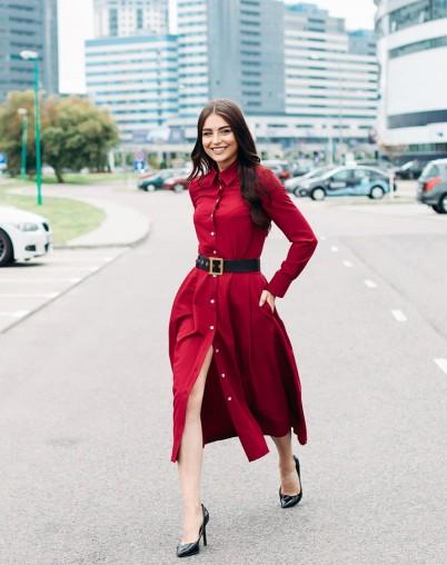Женский костюм с юбкой бордовый