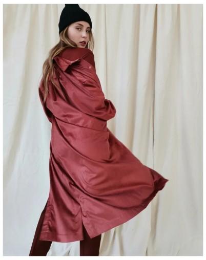 Платье-рубашка миди терракот