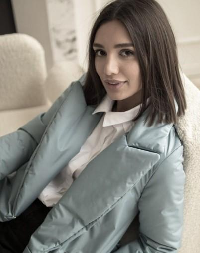 Пальто утеплённое серо-голубое