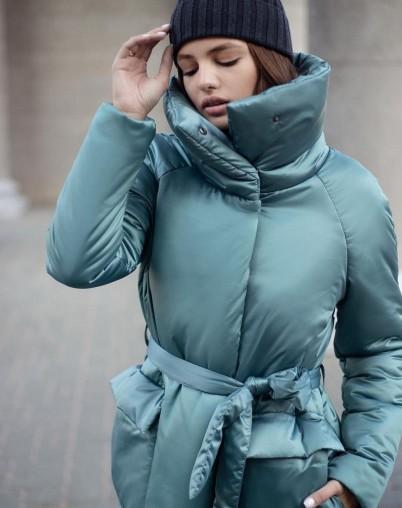 Пальто утепленное длинное бирюзового цвета