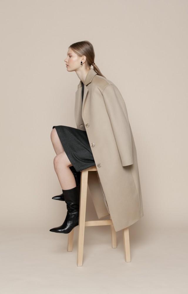 Пальто-кокон из шерсти и кашемира