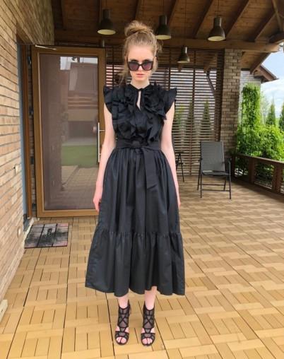 Платье из хлопка чёрное с воланом