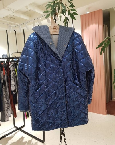 Пальто утепленное синий металик Екатерина Волкова RESALE